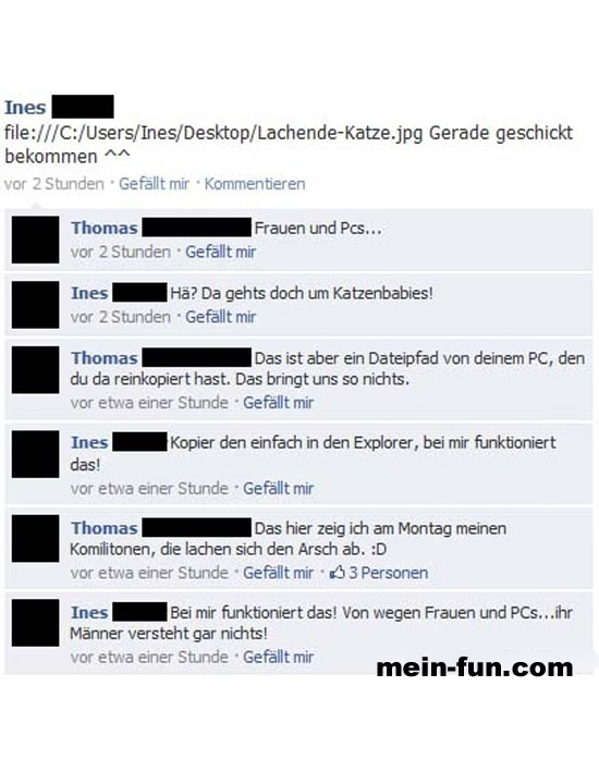 Facebook fail frauen technik