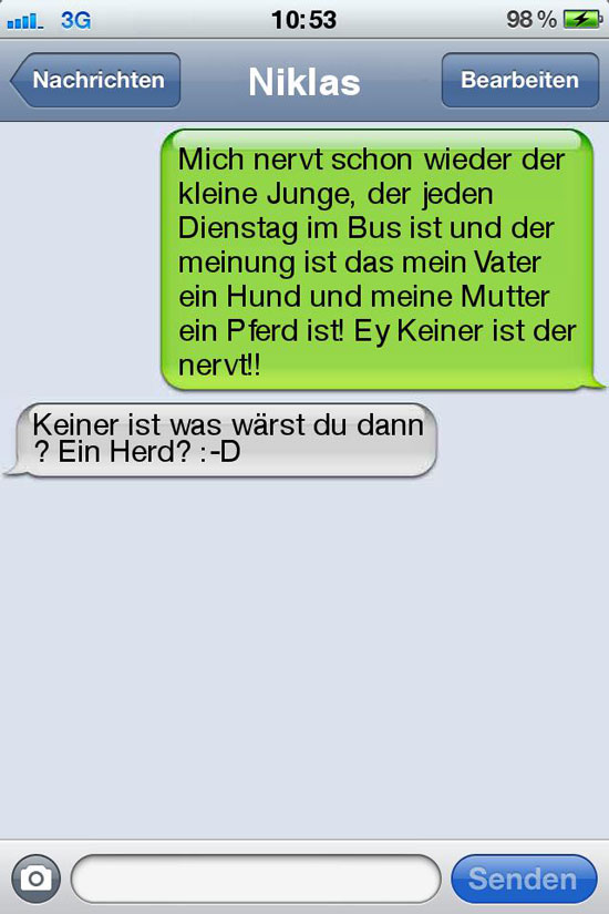 sms fail pferd herd