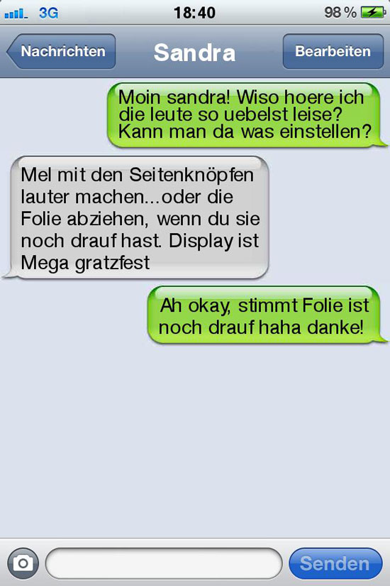 sms fail uebelst leise
